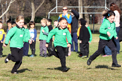 Kindergarten students racing