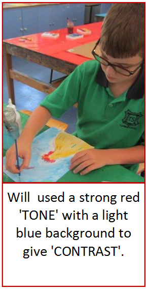 Student creating a picture of a rooster