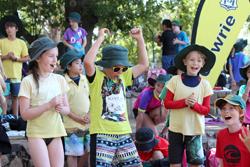 Students cheering at swimming carnival