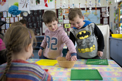 Preschool students playing