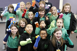 Years 3/4 students with sock puppets