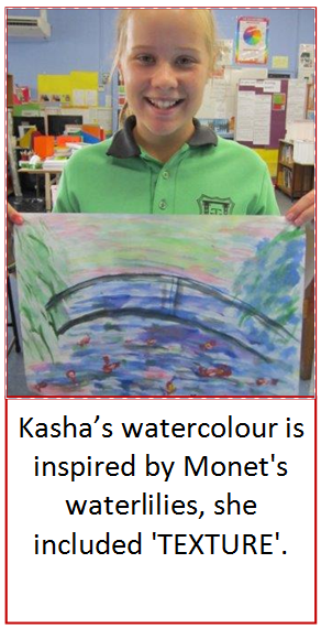 Student holding up a watercolour painting she created inspired Monet's Waterlilies
